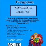 Safe Sitter August 2015 Class Flyer