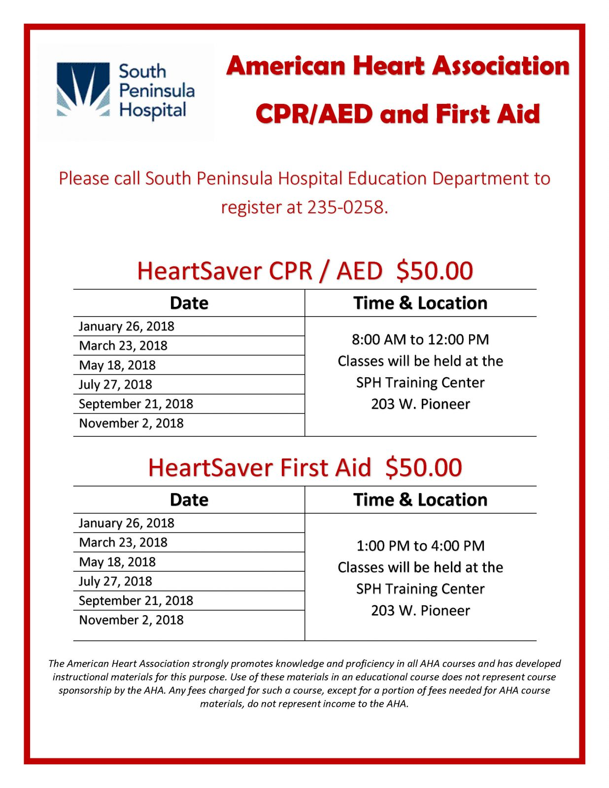 American Heart Association Cpraed And First Aid Classes South
